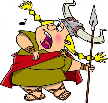 Cartoon Viking Opera Singer