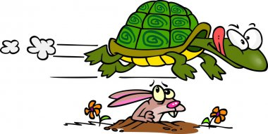 Fast Tortoise Flying Over A Hare