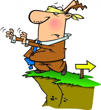Cartoon Blindfolded Man Walking Off Cliff