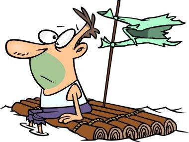Cartoon Man Adrift