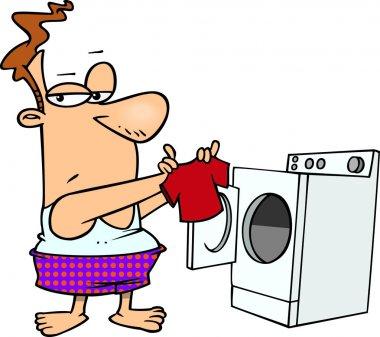Cartoon Man Laundry