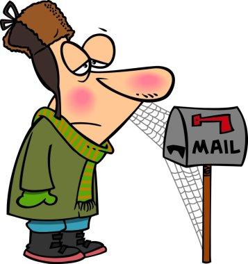Cartoon Man Waiting for Mail