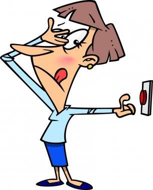 A cartoon woman hesitating to push a button stock vector