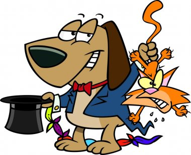 Cartoon Dog Magician