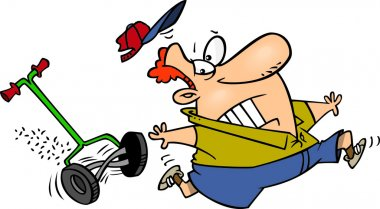 Cartoon Man Chased by a Lawn Mower