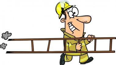 Cartoon Fireman with Ladder