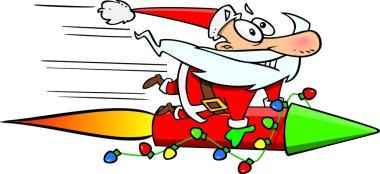 Cartoon Santa Claus Rocket