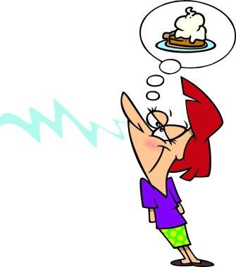Cartoon Woman Craving Dessert