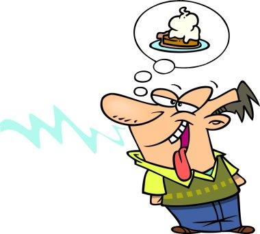 Cartoon Man Craving Dessert
