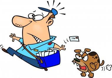 Cartoon Dog Chasing the Postman