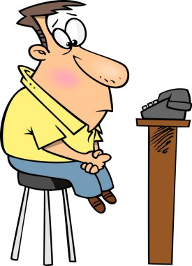 Cartoon Man Watching the Phone