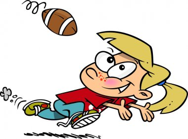 Cartoon Girl Catching Football