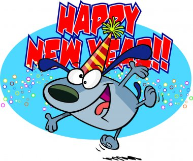 Cartoon New Years Dog