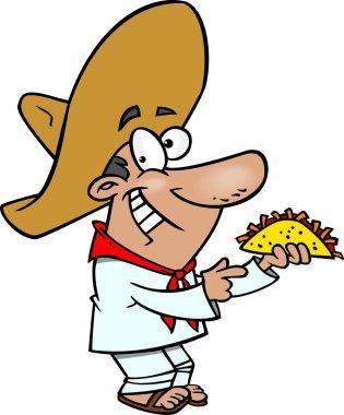 Cartoon Mexican Man with Taco
