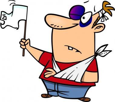 Cartoon Man Waving a White Flag in Surrender