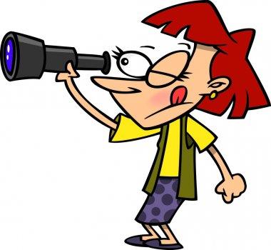 Cartoon Woman Spying
