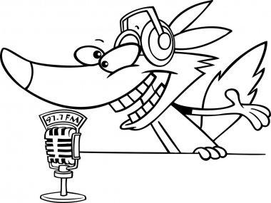 Cartoon Wolf Radio DJ Announcer