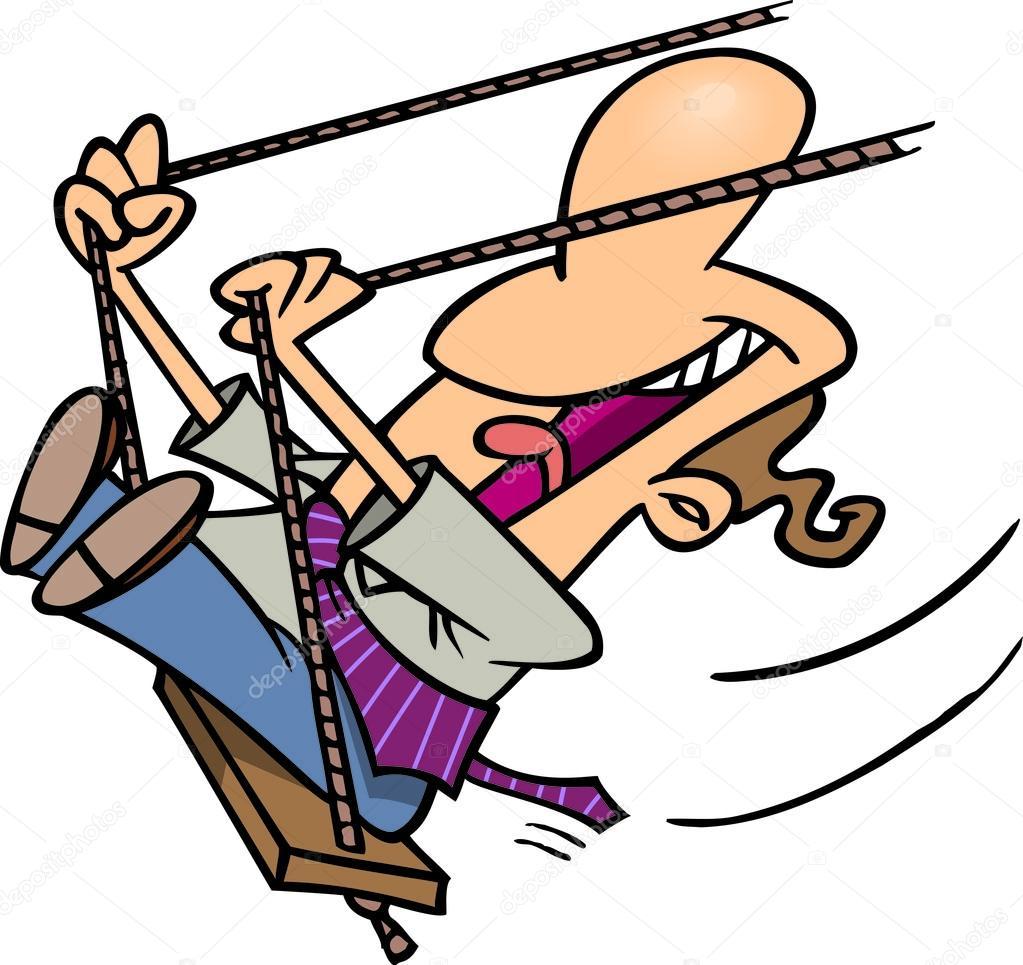 Dessin Balançoire dessin animé homme balançoire — image vectorielle ronleishman