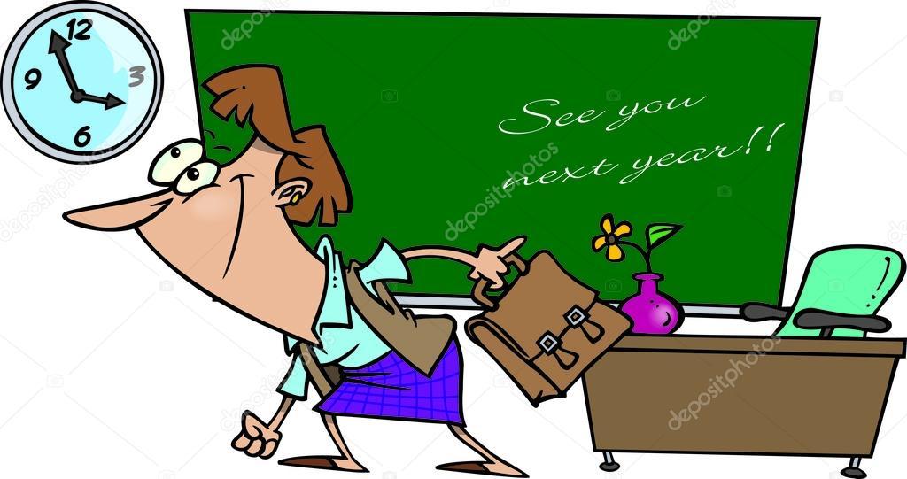 Cartoon Teacher Summer Vacation Stock Vector