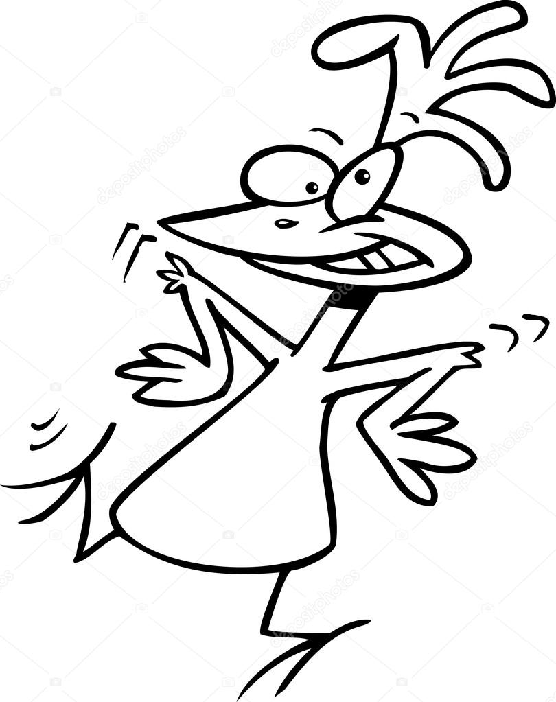 Black And White Line Art Illustration Of A Funky Cartoon Chicken Dancing Vector By Ronleishman