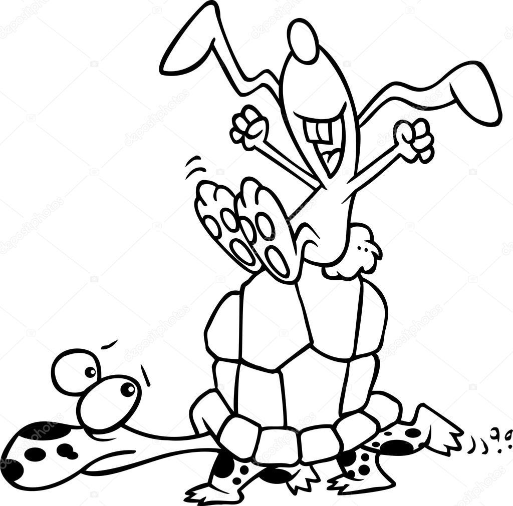 Liebre Y La Tortuga Dibujos Animados Archivo Imágenes Vectoriales