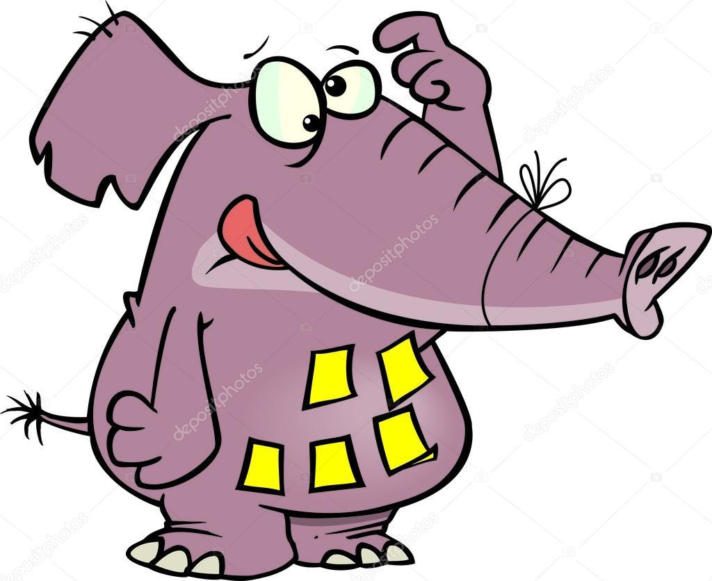 Mémoire d éléphant cartoon — image vectorielle ronleishman