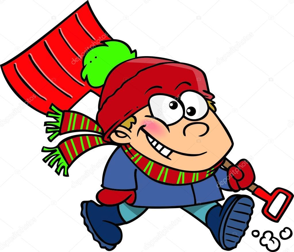 cartoon boy with snow shovel stock vector ronleishman 13982716