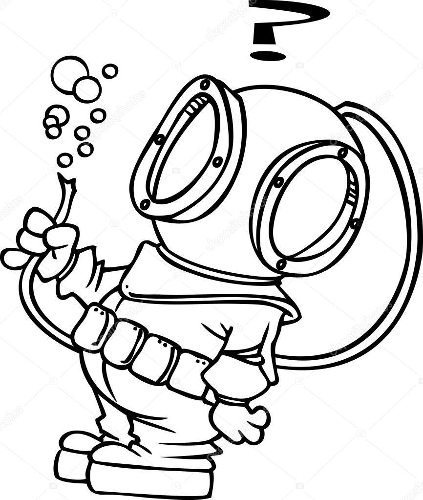 Scaphandrier de dessin anim image vectorielle ronleishman 13983129 - Dessin plongeur ...