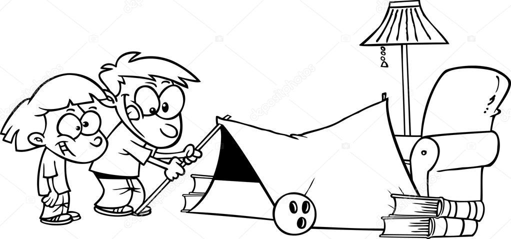 Kinder Camping Zelt In Einem Wohnzimmer Einrichten Stockvektor