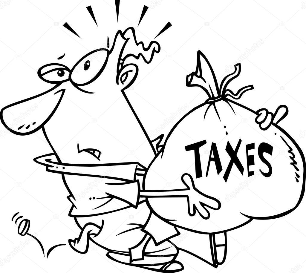 cartoon man with tax burden stock vector ronleishman 13983572