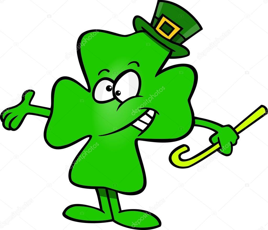 cartoon four leaf clover shamrock stock vector ronleishman 13983674 rh depositphotos com four leaf clover cartoon images four leaf clover cartoon images