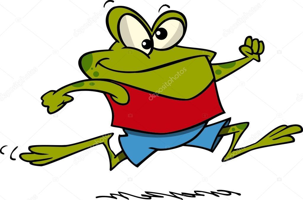 cartoon frog jogging stock vector ronleishman 13983821 rh depositphotos com Cute Frog Silhouette Frog Silhouette