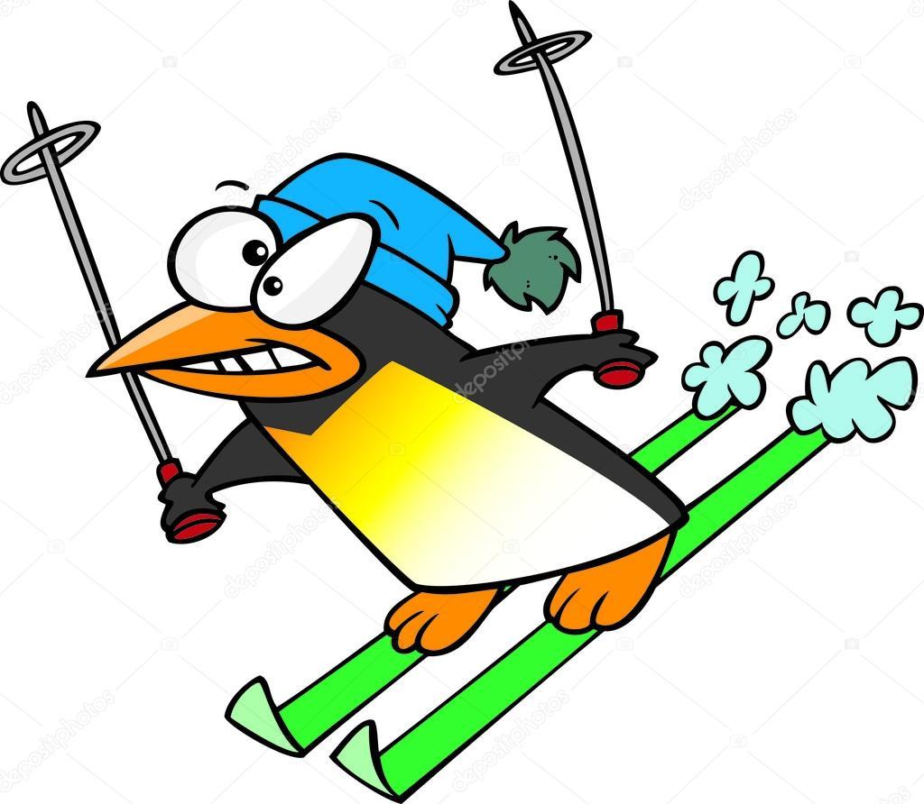 Dessin anim pingouin neige ski image vectorielle - Ski alpin dessin ...