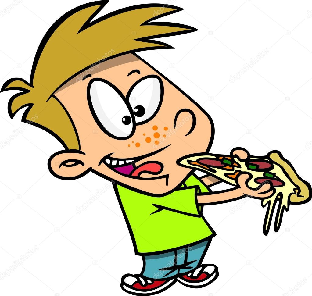Cartoon Boy Eating Pizza Stock Vector C Ronleishman 13984093