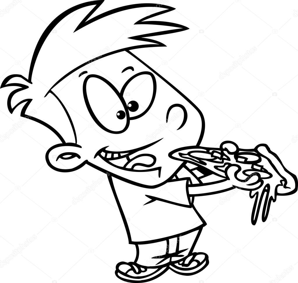 Gar on de dessin anim manger pizza image vectorielle ronleishman 13984662 - Dessin manger ...