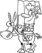 vector of a cartoon mountie on a horse outlined coloring page stock vector