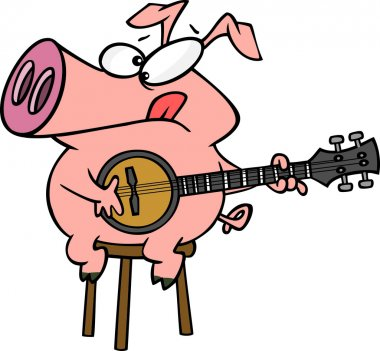 Cartoon Pig Banjo