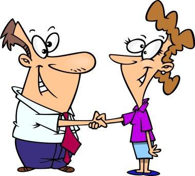 Cartoon Handshake Agreement