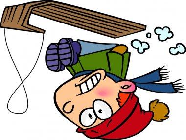 Cartoon Boy Snow Sledding stock vector