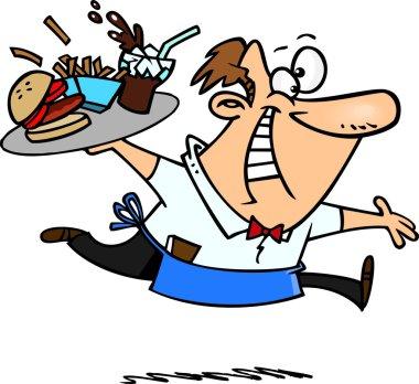 Cartoon Happy Waiter