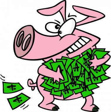 Cartoon Greedy Pig