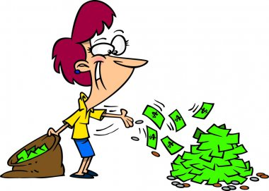 Cartoon Woman Spending Money