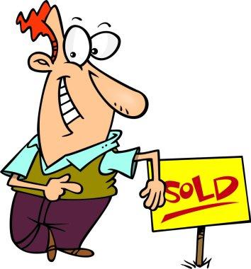 Cartoon Man Selling House