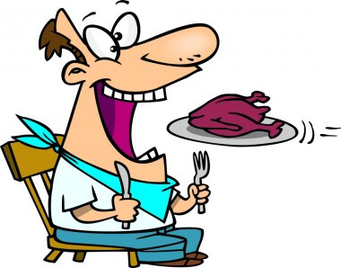 Cartoon Man Eating Turkey