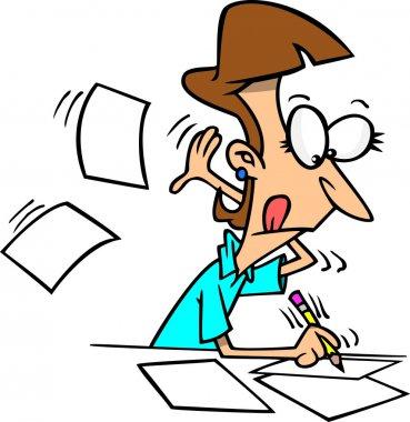 Cartoon Woman Writing