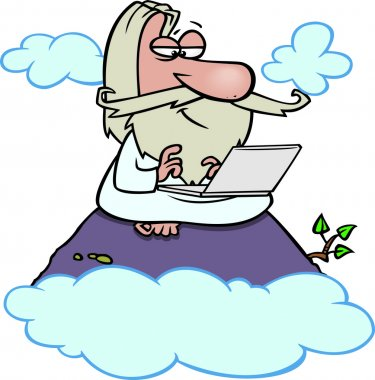 Cartoon Wise Man Laptop