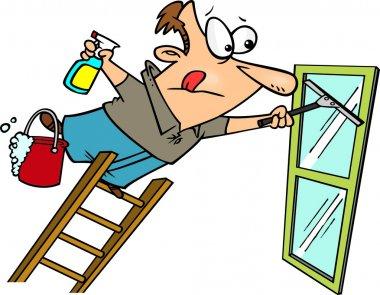 Cartoon Man Cleaning a Window