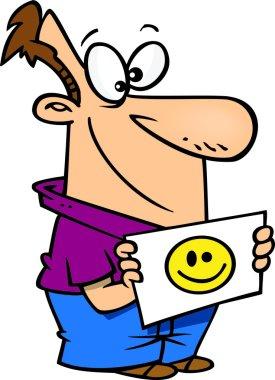 Cartoon Man Holding a Happy Face Sign