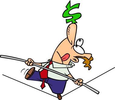 Cartoon Business Tightrope Walker