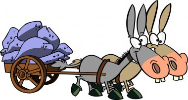 Cartoon Mule Cart